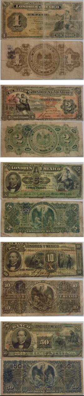 banconote banco de Londres y Mexico