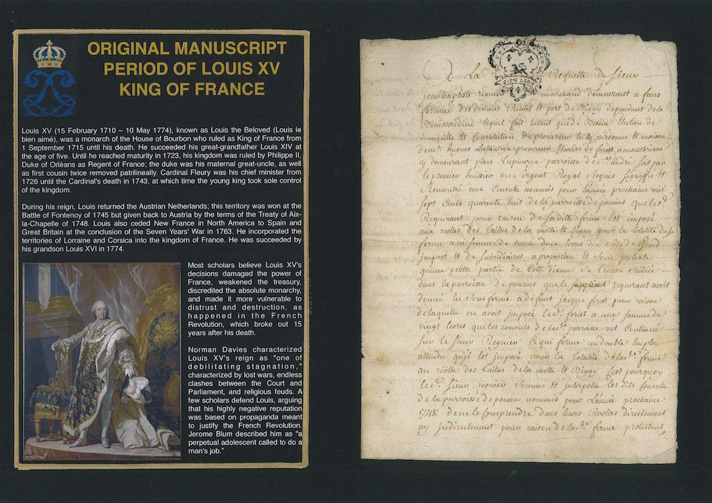 Original Manuscript period of Louis XV King of France