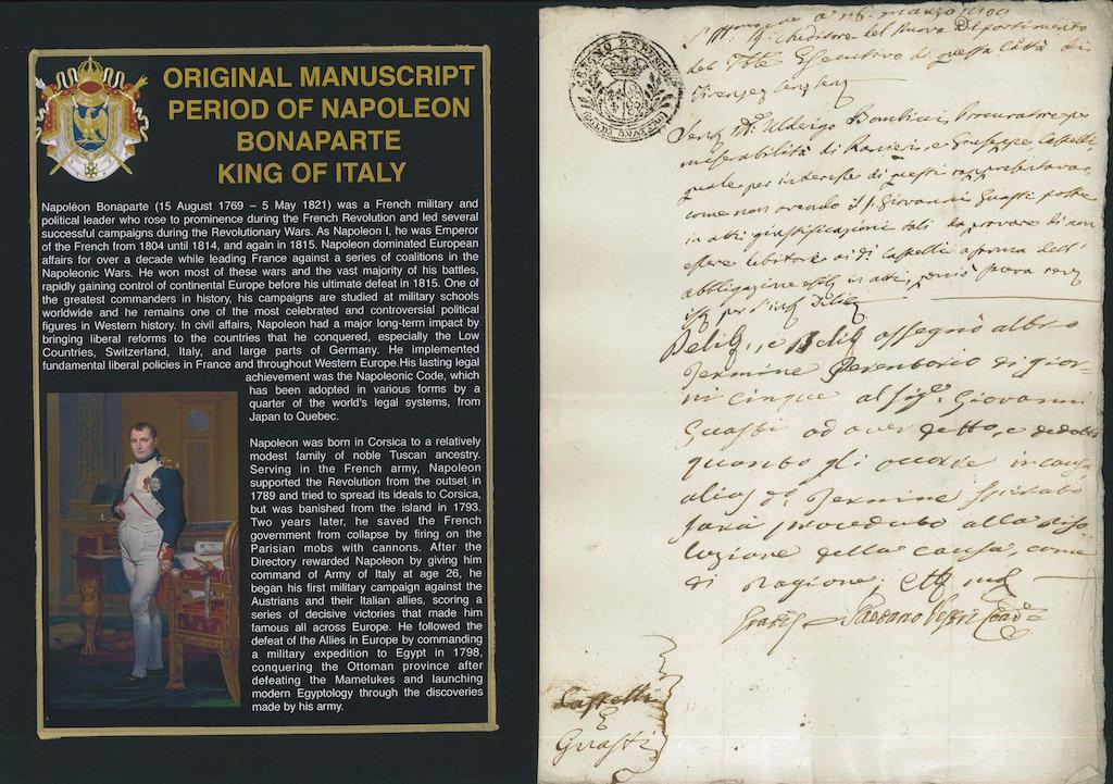 Original Manuscript period of Napoleon Bonaparte King of Italy