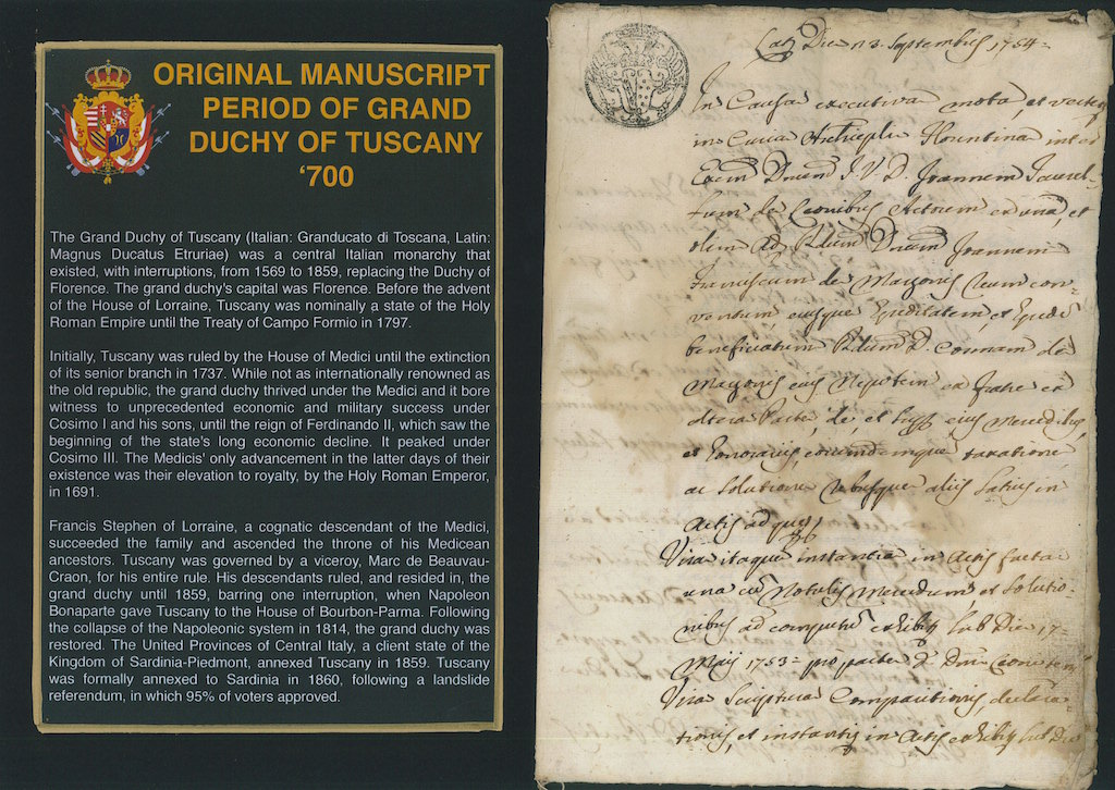 Original Manuscript period of Grand Duchy Tuscany