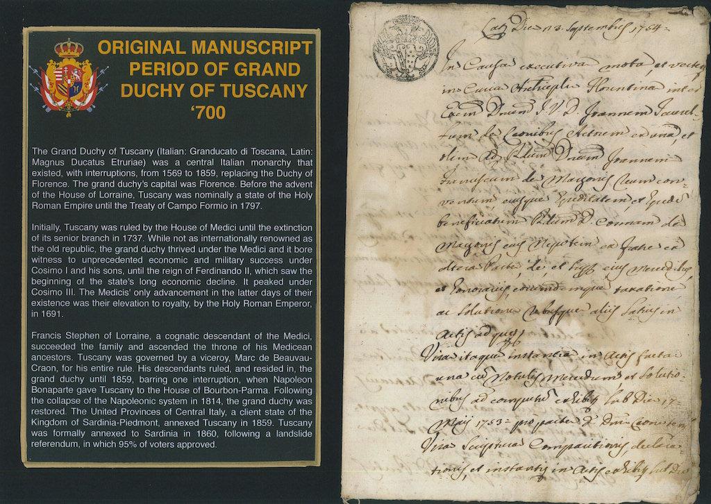Original Manuscript period of Grand Duchy Tuscany