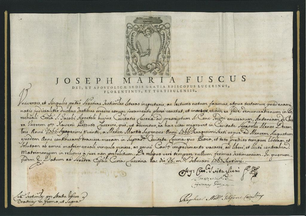 Original Manuscript Joseph Maria Fuscus