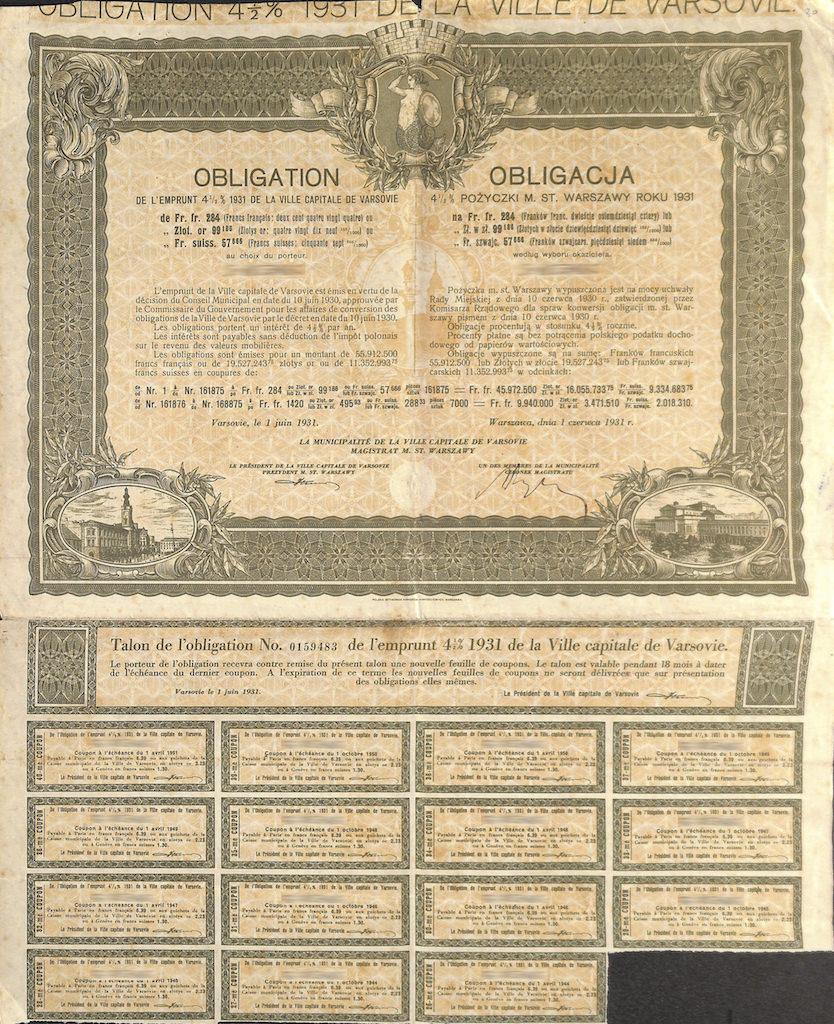 Obligation de lemprunt de la ville capitale de varsovie