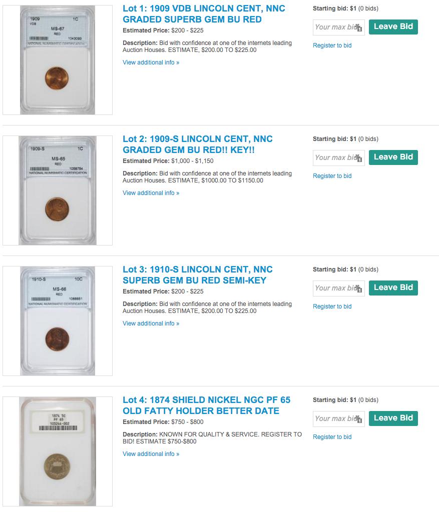 AUCTION RARE COINS