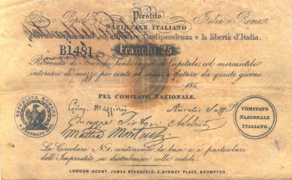 Prestito-Nazionale-Italiano-Mazzini-25-Franchi