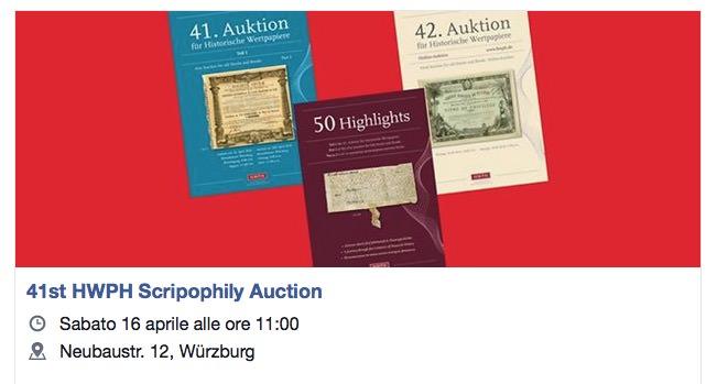 41st HWPH Scripophily Auction