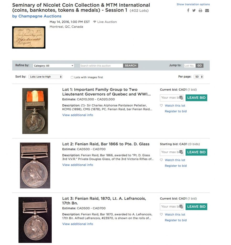 Seminary of Nicolet Coin Collection & MTM International