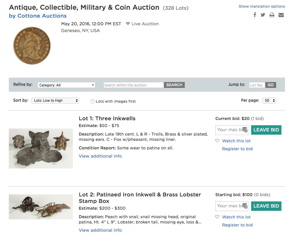Antique, Collectible, Military & Coin Auction (328 Lots)