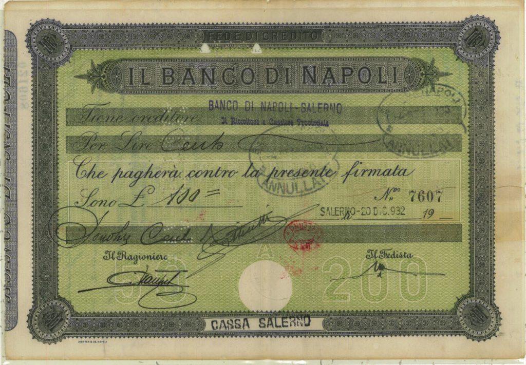 banco di Napoli 1932