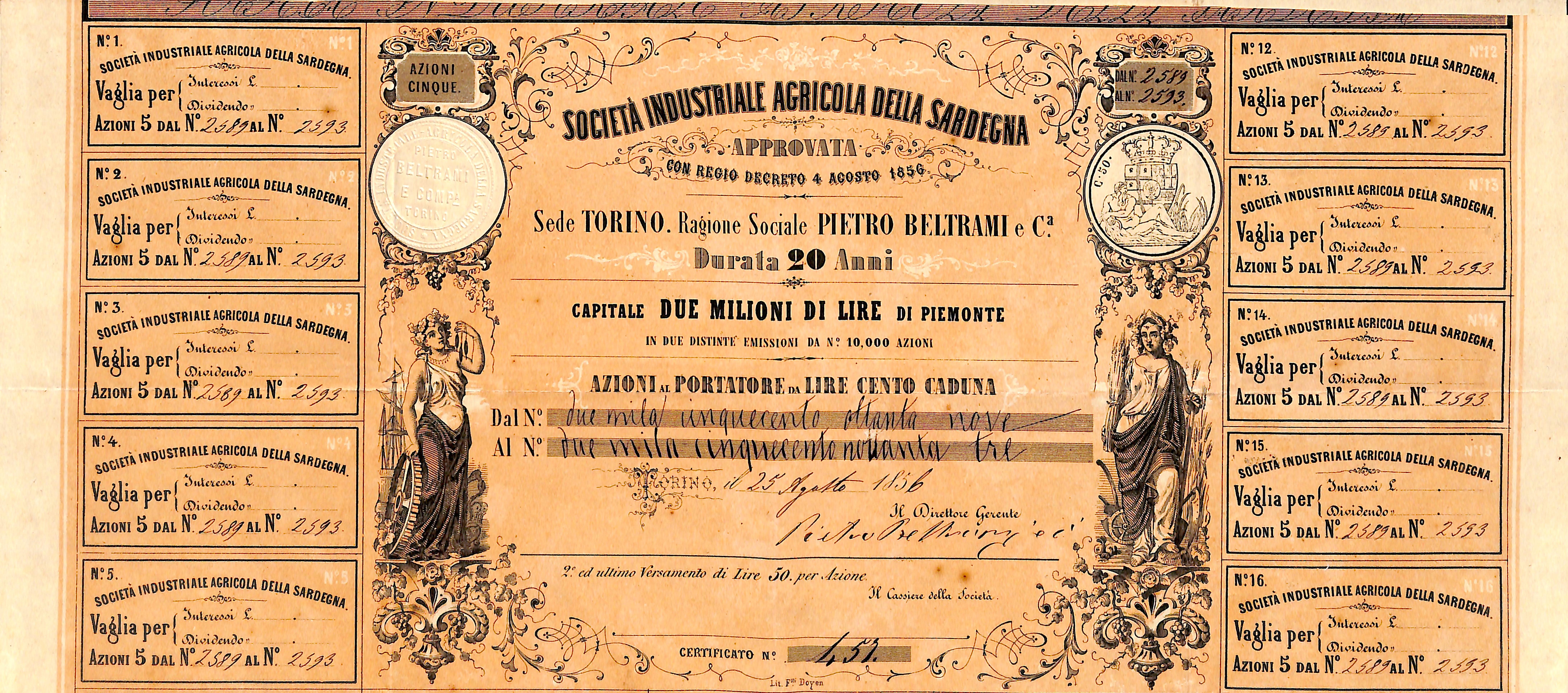 1856SOCIETAINDUSTRIALEAGRICOLADELLASARDEGNA