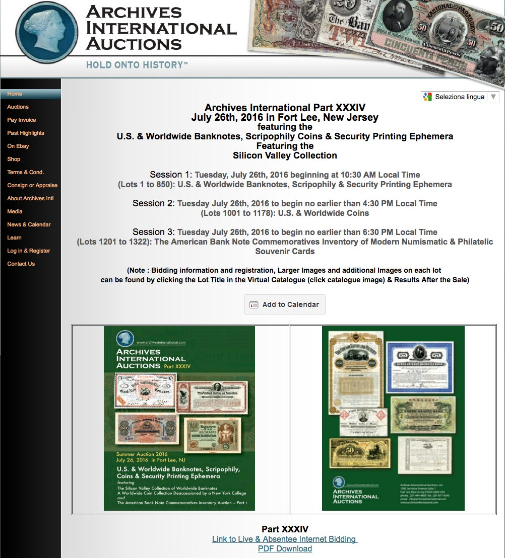 Archive internationa Auction