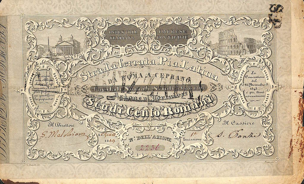 1849-strada-ferrata-pia-latina-100-scudi-romani