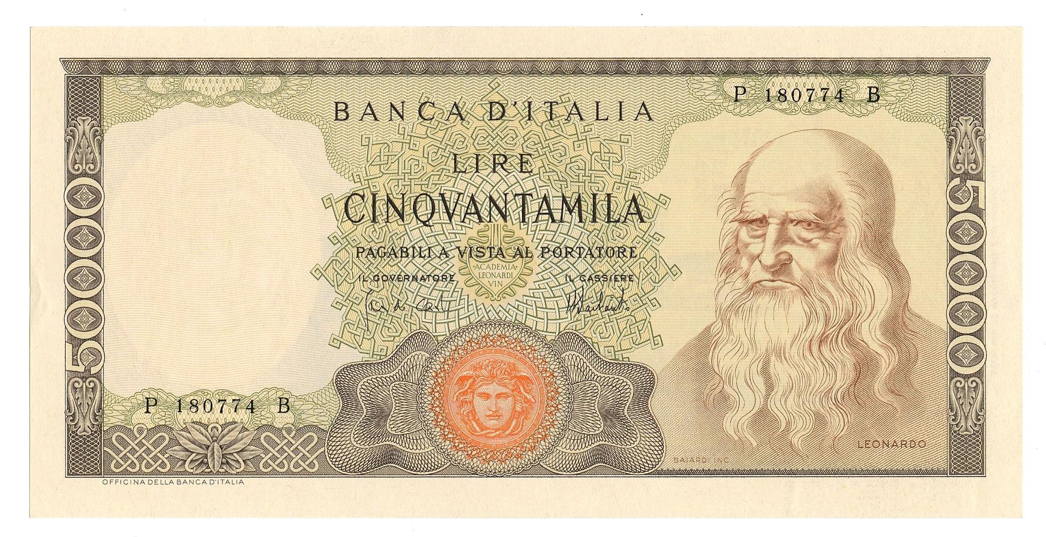 BANCONOTA DA LIRE 50000 LEONARDO DA VINCI