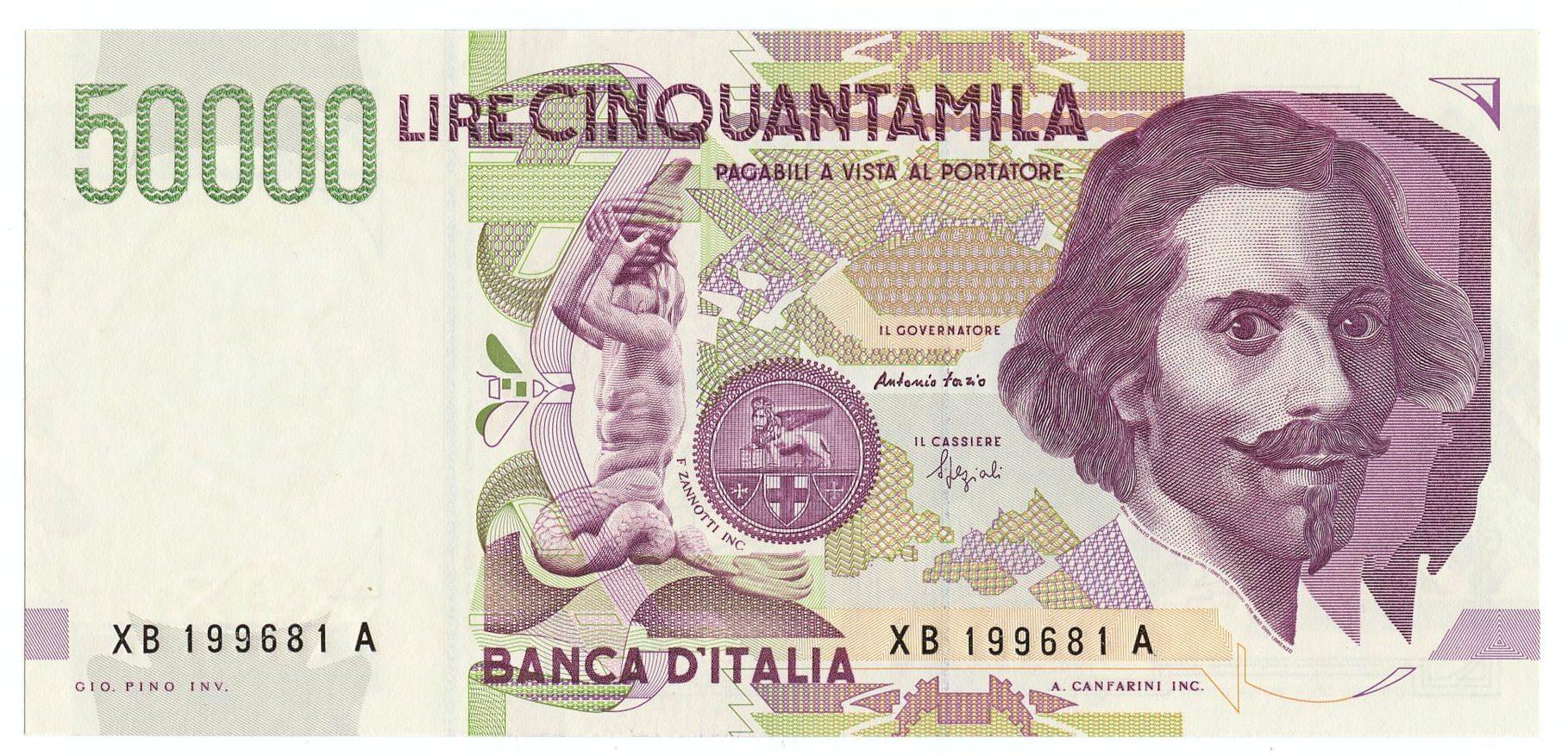 BANCONOTA DA LIRE 50000 BERNINI TIPO II