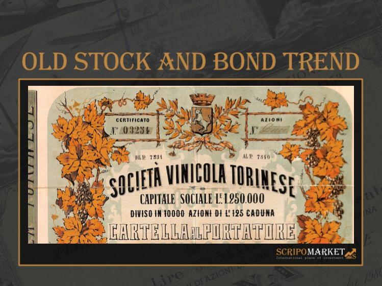 Soc. Vinicola Torinese cartella al portatore di Dieci Azioni 1873 di Alberto PUPPO