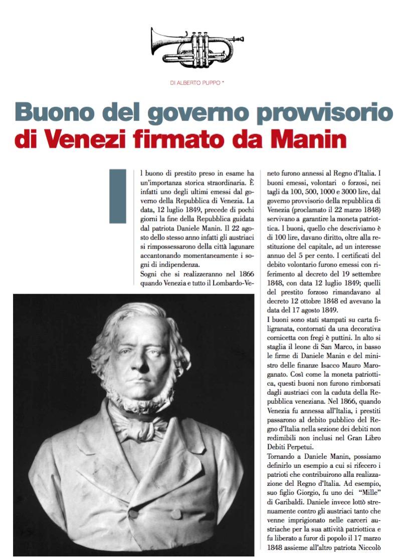 Buono del governo provvisorio di Venezi firmato da Manin di Alberto Puppo