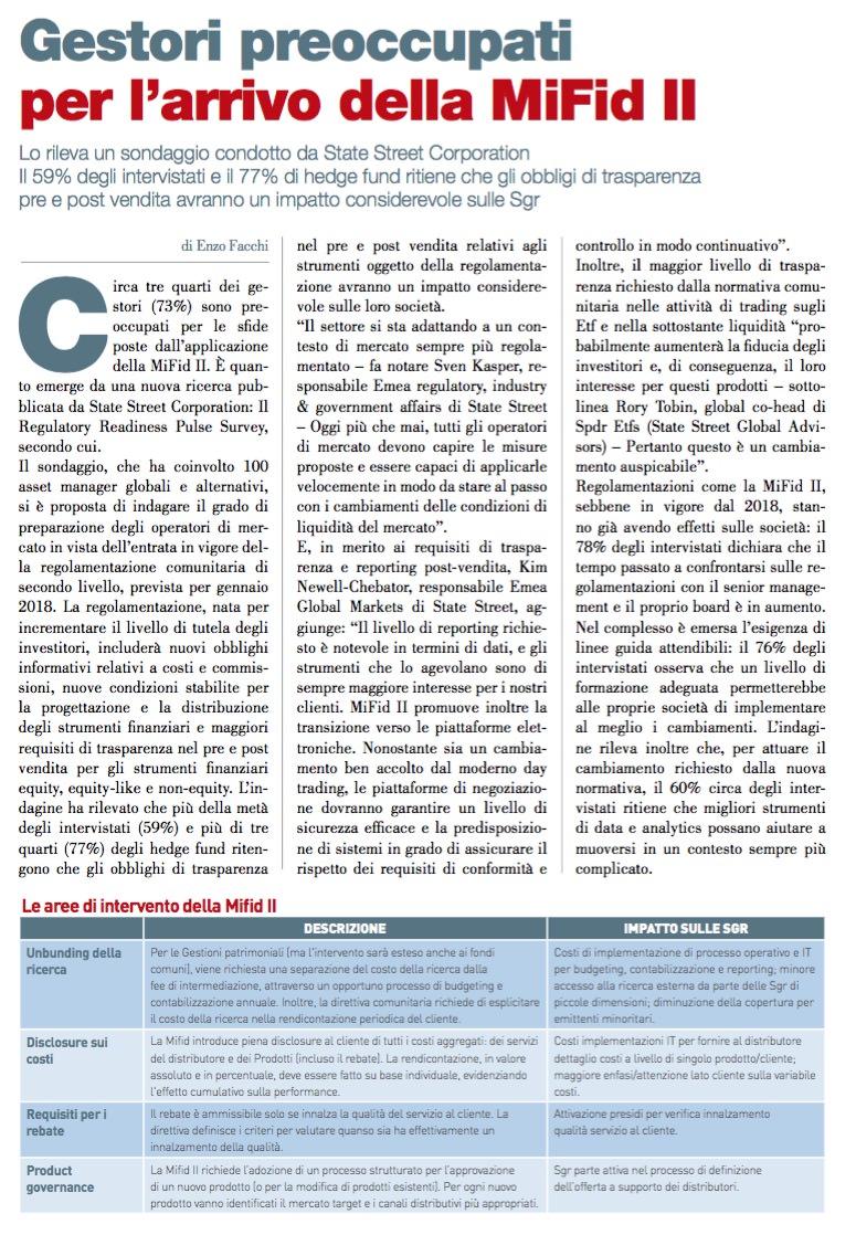 Gestori preoccupati per l'arrivo della MiFid II di Enzo Facchi