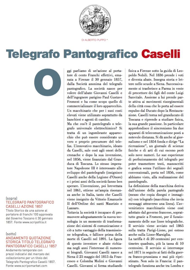 Telegrafo Pantografico Caselli di Alberto Puppo