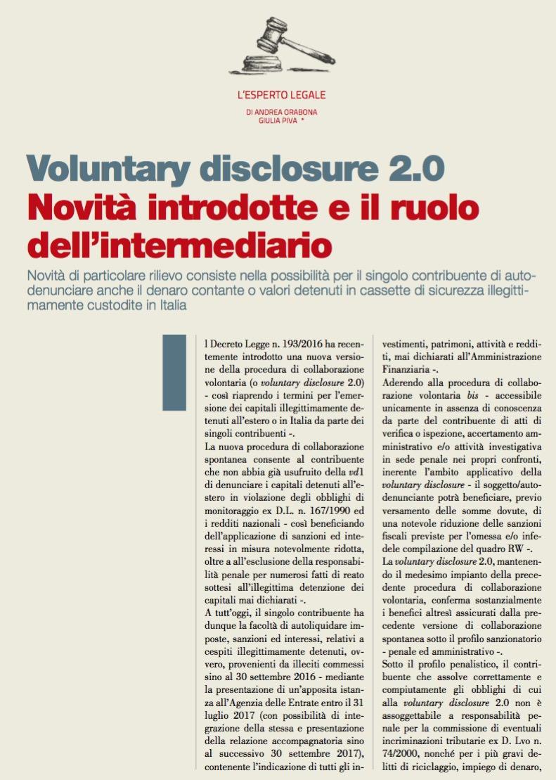 Voluntary disclosure 2.0 Novità introdotte e il ruolo dell'intermediario di Andrea Orabona e Giulia Piva