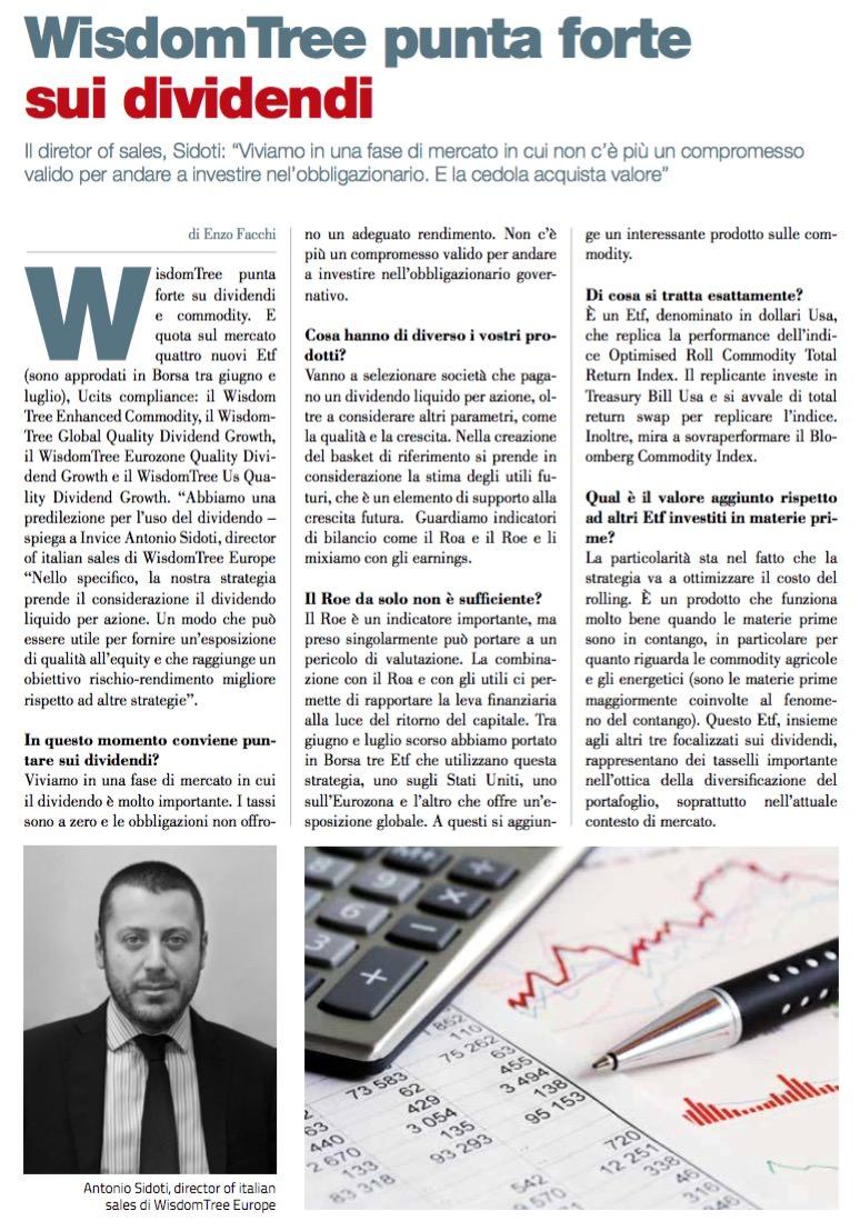 WisdomTree punta forte sui dividendi di Enzo Facchi