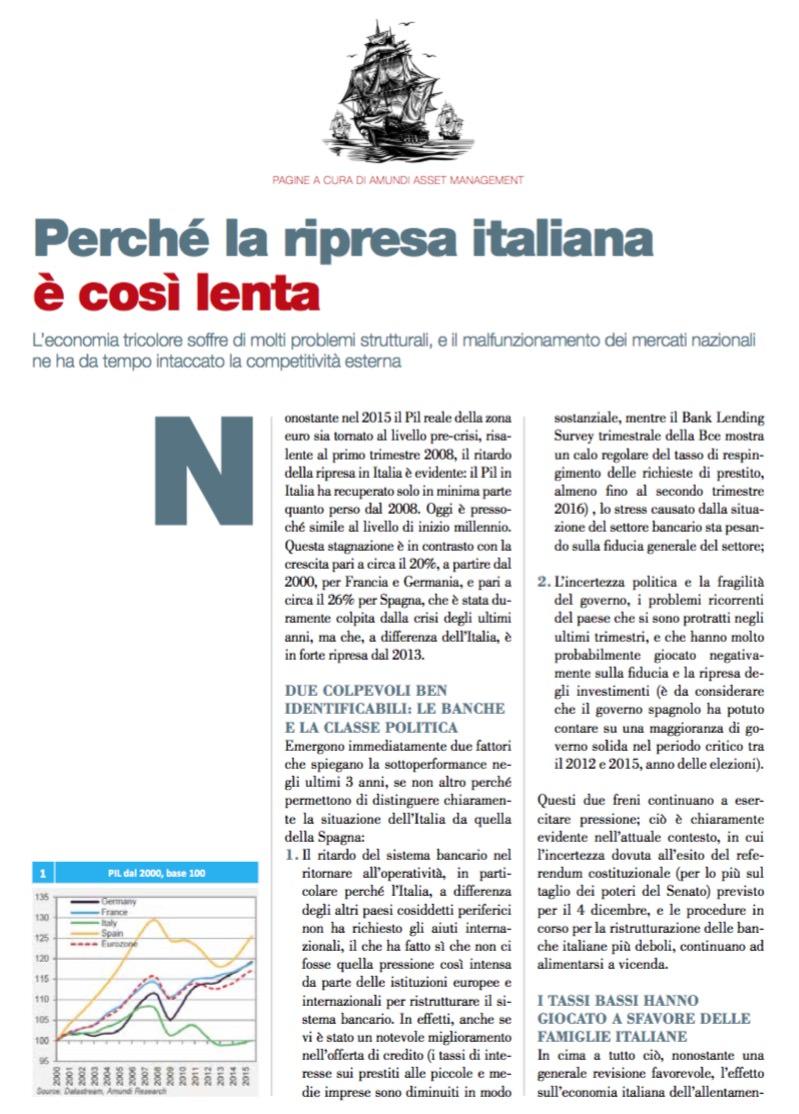 Perché la ripresa italiana Special edition è così lenta di Amundi Asset Management
