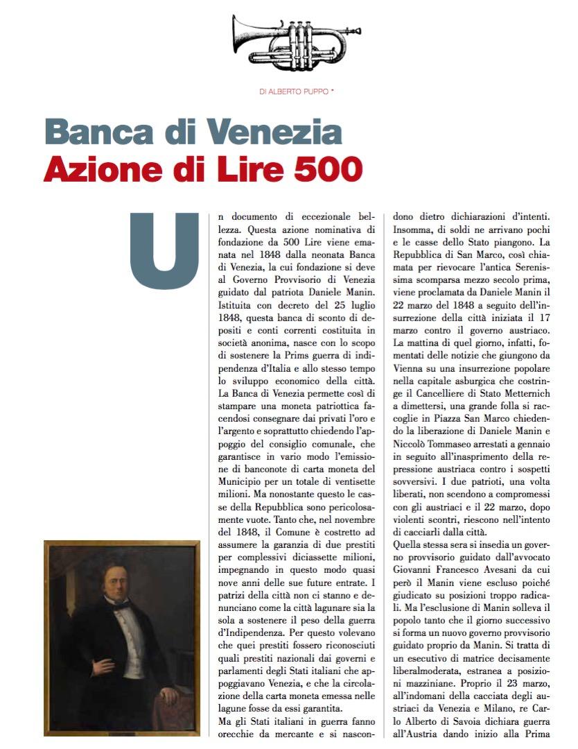 Banca di Venezia Azione di Lire 500