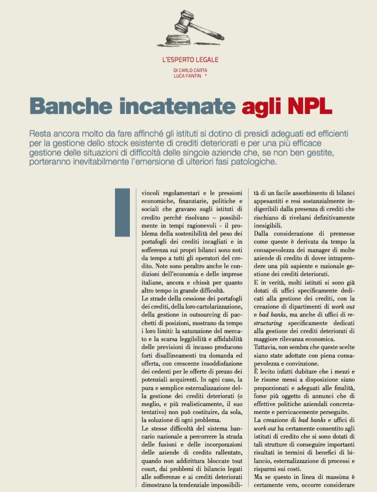 Banche incatenate agli NPL