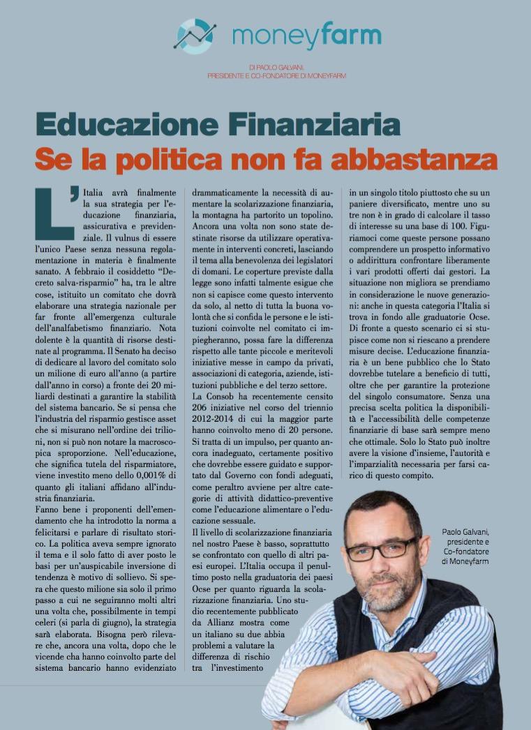 Educazione Finanziaria se la politica non fa abbastanza