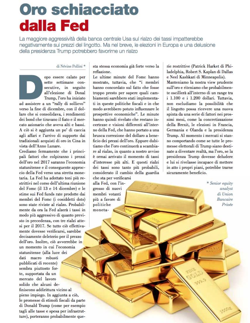 Oro schiacciato dalla Fed