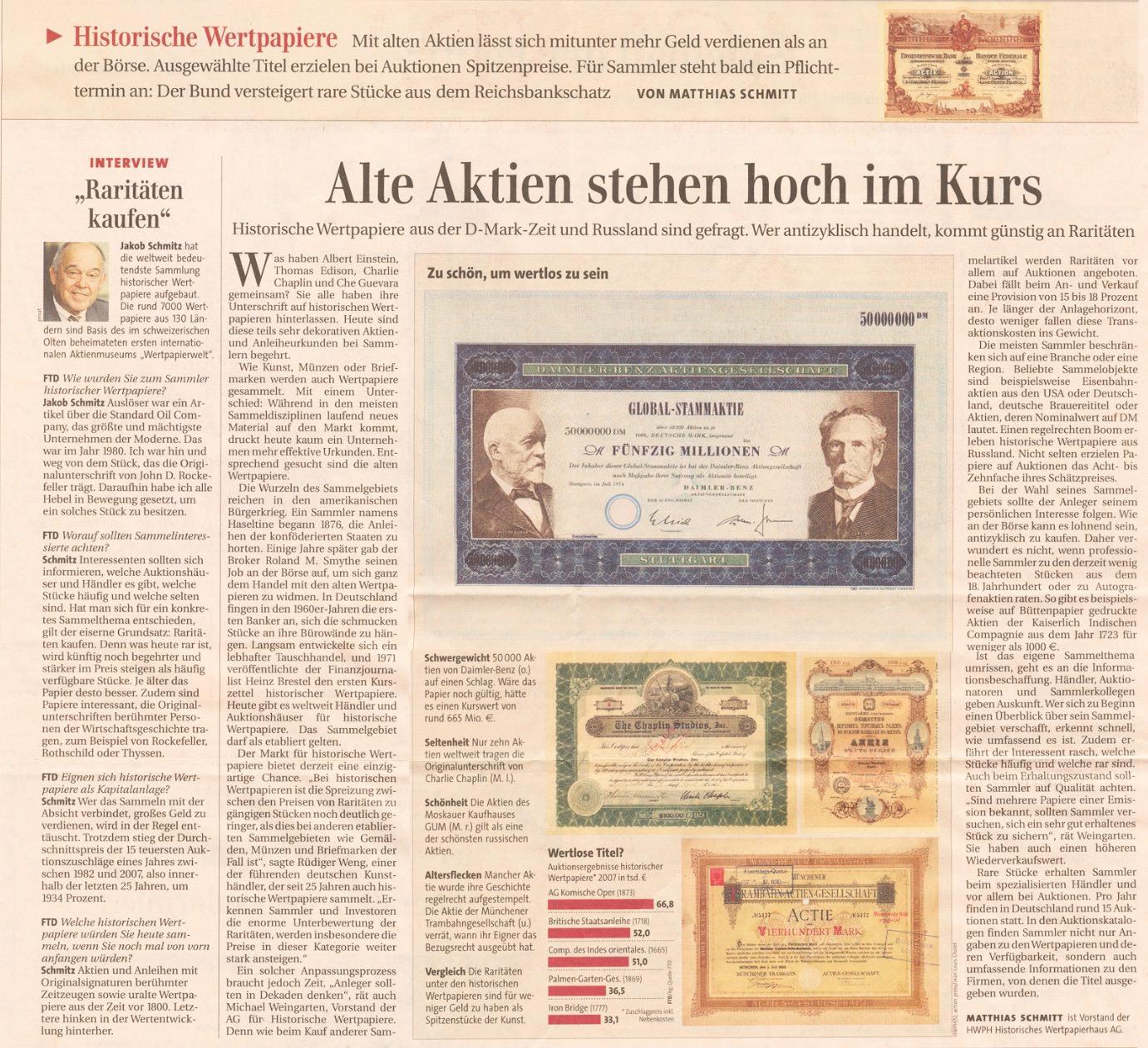 Articolo del Financial Times Deutschland (in tedesco) sui titoli storici da collezione - Scripofilia